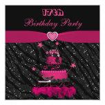 Trendy Pink Cake & Zebra Stripes 17th Birthday 13 Cm X 13 Cm Square Invitation Card