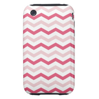 Trendy Pink Chevron Stripes iPhone 3 Tough Covers