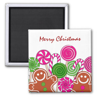 Trendy pink Christmas gingerbreads Magnet