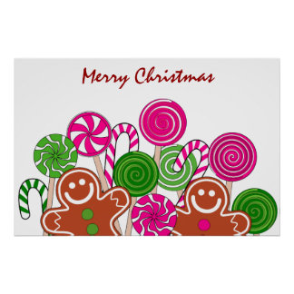 Trendy pink Christmas gingerbreads Print