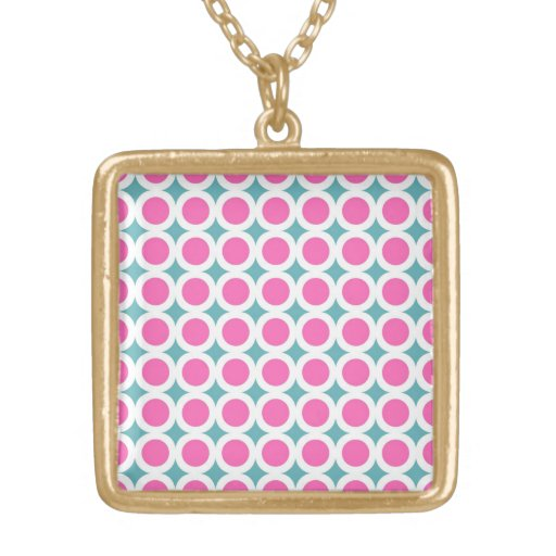 Trendy Pink Circles and Teal Blue Pattern Jewelry