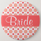 Trendy Pink & Coral Polka Dots 6 Cm Round Badge