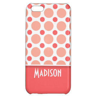 Trendy Pink & Coral Polka Dots Case For iPhone 5C