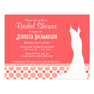 Trendy Pink & Coral Polka Dots Post Cards