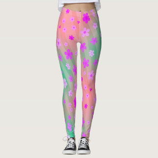 TRENDY PINK DAISIES LEGGINGS