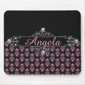 Trendy Pink Damask Black Diamonds Personalize Mouse Pad