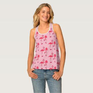 Trendy Pink Flamingo Pattern Tank Top