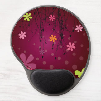 Trendy Pink Floral Pattern Gel Mouse Pad