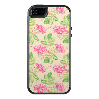 Trendy Pink Flowers And Green Leafs OtterBox iPhone 5/5s/SE Case