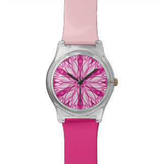 Trendy Pink Fractal Pattern Watch