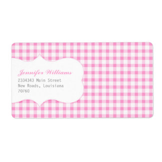 Trendy Pink Gingham Shipping Label