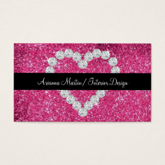 Trendy Pink Glitter Sparkly Diamond Heart Business Card