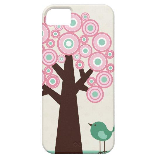 Trendy pink green circles tree bird iphone 5 case