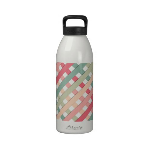 Trendy Pink Green Geometric Tartan Stripes Pattern Water Bottles