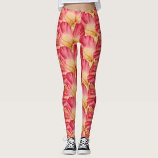 Trendy Pink Hibiscus Floral Pattern Leggings