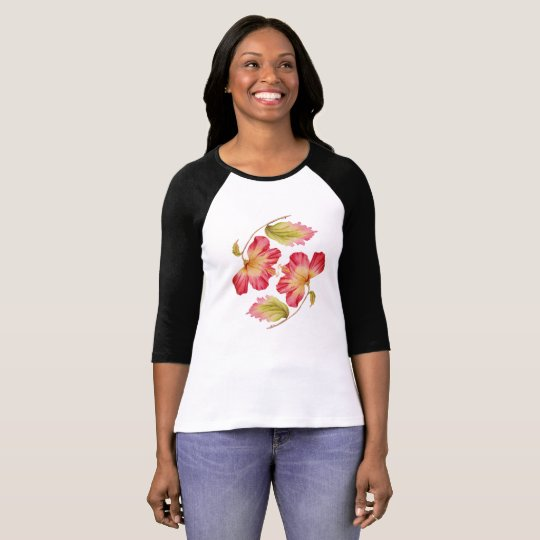Trendy Pink Hibiscus Floral T-shirt