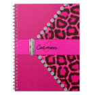 Trendy Pink Leopard and Hinge Monogram Notebook