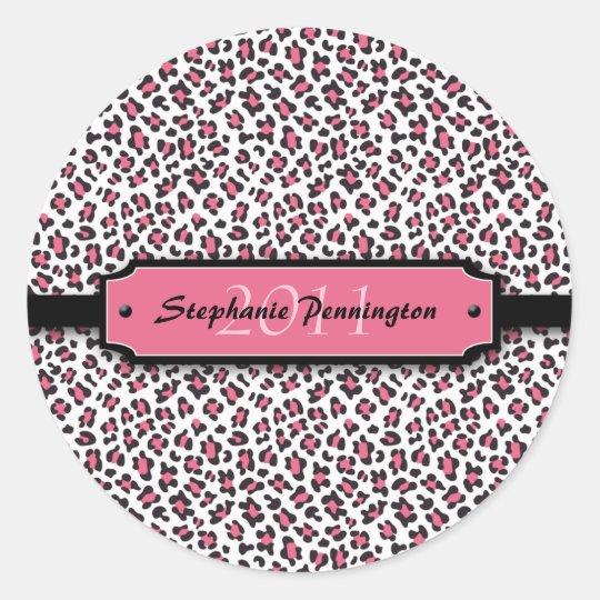 Trendy pink leopard graduation personalise sticker
