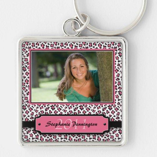 Trendy pink leopard graduation photo keychain