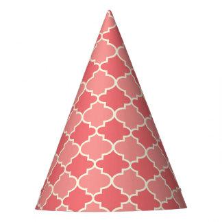 Trendy Pink Moroccan Quatrefoil Pattern Party Hats