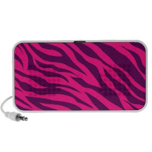 Trendy Pink Purple Zebra Stripes Wild Animal Print Laptop Speakers