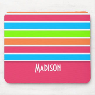 Trendy Pink Retro Neon Rainbow Mousepad