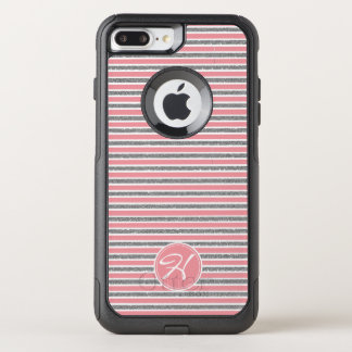 Trendy Pink Silver Glitter MONOGRAMMED OtterBox Commuter iPhone 8 Plus/7 Plus Case