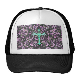 Trendy Pink Teal Floral Damask Glitter Cross Print Cap