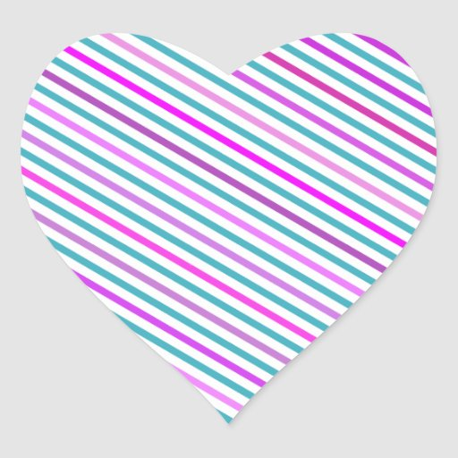 Trendy Pink Teal Green Girly Stripes Pattern Heart Stickers