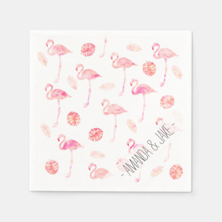 Trendy pink watercolor flamingo tropical leaf disposable napkins