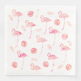 Trendy pink watercolor flamingo tropical leaf paper napkin