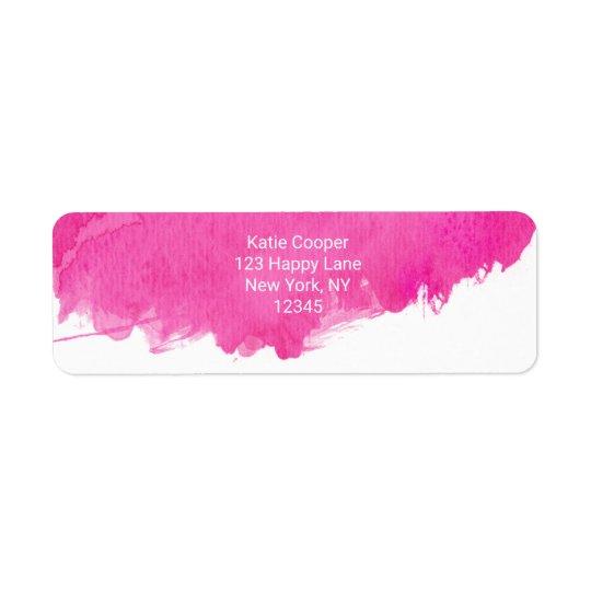 Trendy Pink Watercolor Paint Splotch Return Address Label