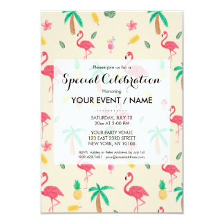 Trendy pink watercolor tropical flamingo floral 9 cm x 13 cm invitation card