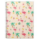 Trendy pink watercolor tropical flamingo floral notebook