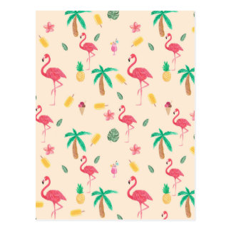 Trendy pink watercolor tropical flamingo floral postcard