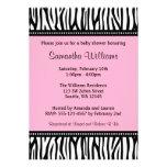 Trendy Pink Zebra Girl Baby Shower Invitations