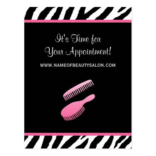 Trendy Pink Zebra Hair Salon Appointment Reminder Postcard
