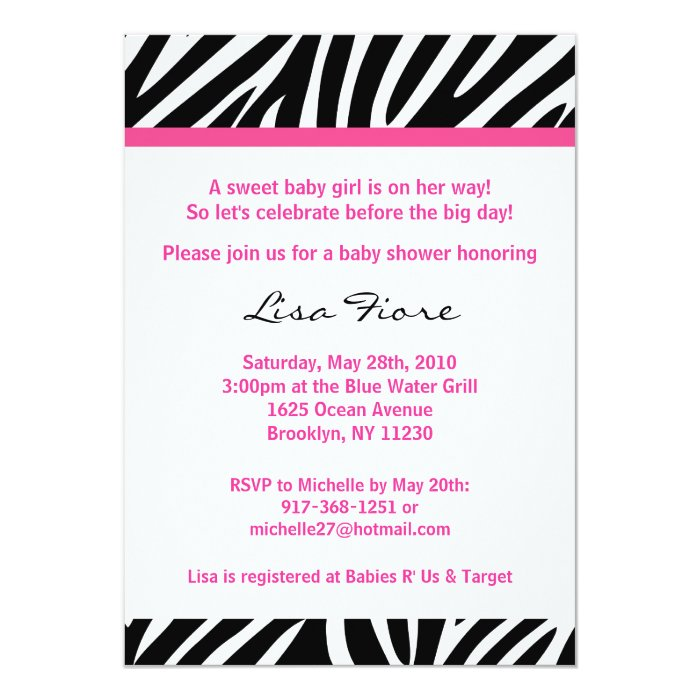 Trendy Pink Zebra Print Baby Shower Invitations
