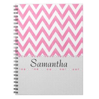 Trendy Pink ZigZag Monogram Spiral Notebook
