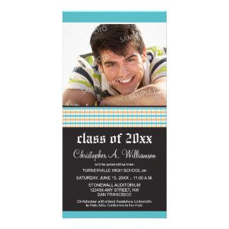Trendy Plaid Blue Graduation Announcement Photo Card