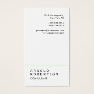 Trendy Plain White Green Consultant Business Card