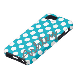 Trendy Polka Dot Pattern with name - blue gray iPhone 5 Covers