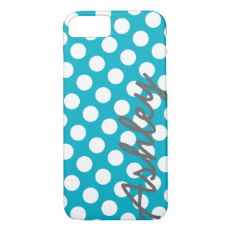 Trendy Polka Dot Pattern with name - blue gray iPhone 8/7 Case