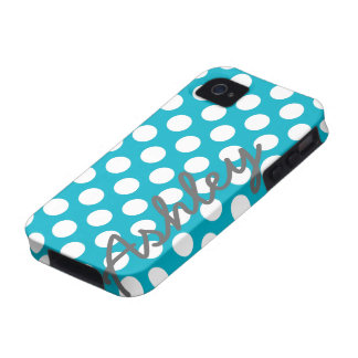 Trendy Polka Dot Pattern with name - blue gray Vibe iPhone 4 Case