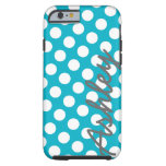 Trendy Polka Dot Pattern with name - blue grey