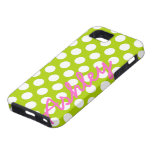 Trendy Polka Dot Pattern with name - green pink