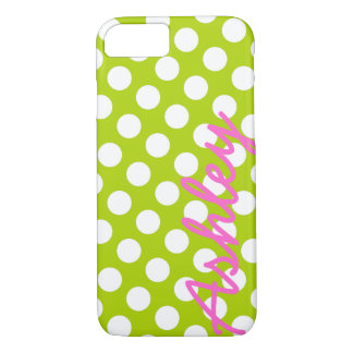 Trendy Polka Dot Pattern with name - green pink iPhone 7 Case