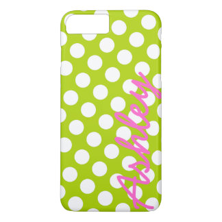 Trendy Polka Dot Pattern with name - green pink iPhone 7 Plus Case