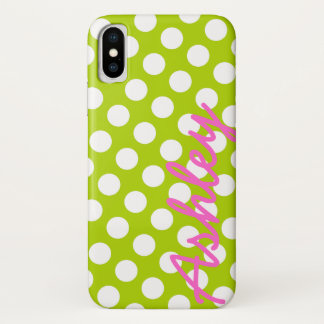 Trendy Polka Dot Pattern with name - green pink iPhone X Case