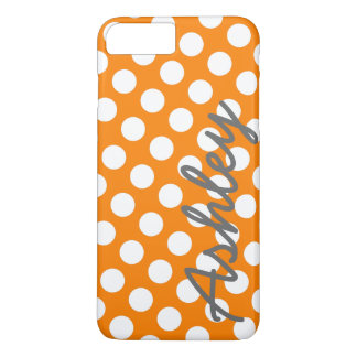 Trendy Polka Dot Pattern with name - orange gray iPhone 8 Plus/7 Plus Case
